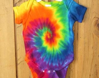 Rainbow Spiral Tie Dye Infant Onesie