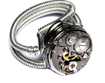 Steampunk ring, Steampunk Jewelry, Watch Movement Steampunk Ring, Silver Tone