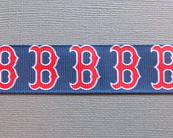 "Boston RED SOX  - Red 'B' on 7/8"" Navy Grosgrain Ribbon - 5 Yards"