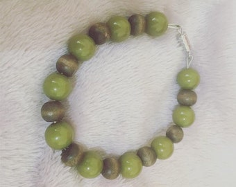 Green and Wood Beaded Bracelet