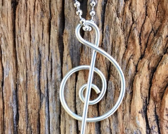 Sterling Silver Treble Clef Necklace. Silver Music Lover's Necklace. Treble Clef Necklace. Silver Necklace. Handmade Treble Clef Necklace.