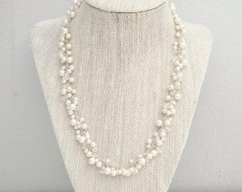 Pearl Wedding Necklace, Bridal Necklace, Pearl Cluster Necklace, Pearl Necklace, Wedding Necklace