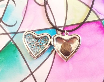 Filigree heart locket necklace on Cotton chord Valentine's Day gift for her