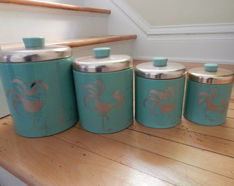 Ransburg Teal and Copper Metal Canister Set with Chickens & Roosters - Four-Piece 1950s Covered Canister Set - Retro Kitchen Canister Set