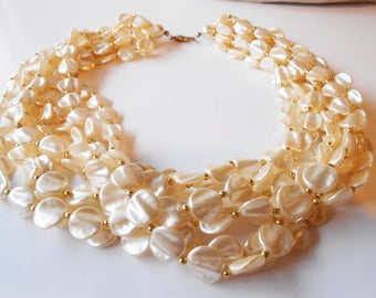 Pearl Necklace, Vintage Pearls, Vintage Jewelry, 8 Strand, Creamy Pearls, Glamorous Necklace,Faux Pearl Necklace
