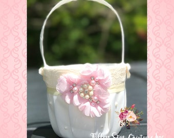 Flower girl basket /  vintage flower girl basket / custom colors - you design