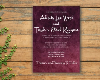 Printable Wedding Invitation, Wedding Invitation template, Burgundy Wedding Invitation, Marsala Wedding, Digital Wedding invitation, PDF