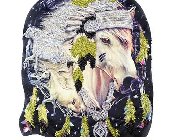 Large horse sequins vintage embroidered patch applique vintage fashion embroidered patch
