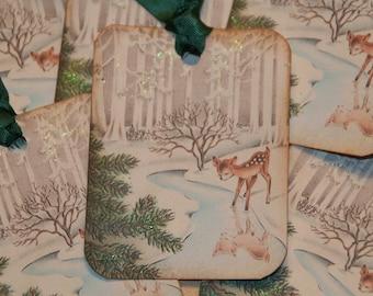 Baby Deer Gift Tags, Christmas Tags, Holiday Tags, Woodland Christmas Tags, Vintage Christmas Glittered Old Fashion Tags