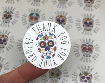 Sugar Skull Stickers | Thank You For Your Order | Customer Thank You | Small Business Stickers | Shipping Stickers | Stickers for Makers