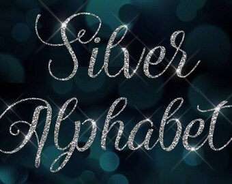 CLIP ART - Not a Font - Ornate Silver Glitter Alphabet, Silver Letters, silver glitter clip art, script diamond bling sparkle letters