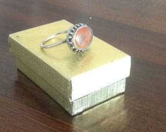 Old Turkish Incised Carnelian and Silver Ring
