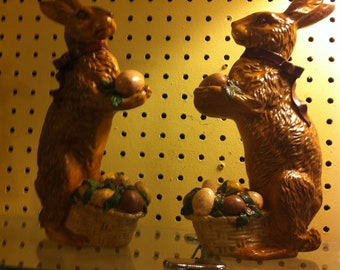 Rabbits With Eggs in Baskets,Molded Figures, 10.5 inches tall