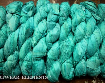 Pure Sari Silk, Aquamarine, Per 100g Skein, Recycled Sari Silk, Fair Trade, Fabric, Ribbon, Yarn, Silk, ArtWear Elements, 303b