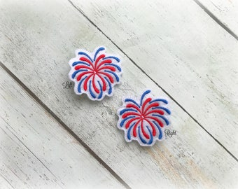 Firework Hair clip 4th of July Embroidered Felt Hair Clips Pick one or two. Pick Left side or Right.