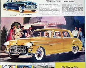 1949 Yellow Dodge Coronet, Dodge Meadowbrook Car ads, Antique Car Ad, Classic Car Ad, Vintage Magazine Ad, Automobile Print Ad, Classic car