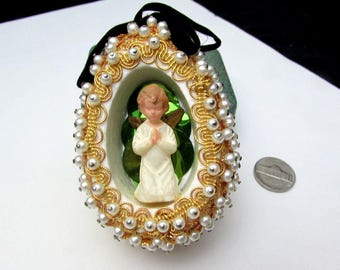 60s 3d diorama angel vintage ornament sequins beaded jeweled egg shape christmas indent hand made green sequinned faux pearl goldxmas