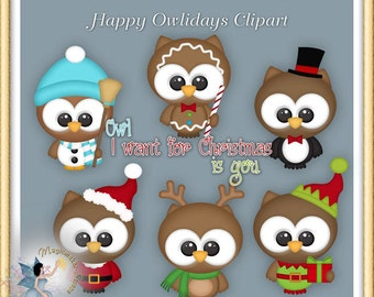 Christmas Owl Clipart, Happy Holiday