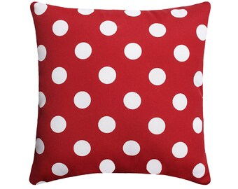 Red OUTDOOR Pillow Cover, Polka Dot Red Outdoor Accent Pillow Cover, Hidden Zipper Pillow Cover, Red and White Retro Outdoor Pillow, Red