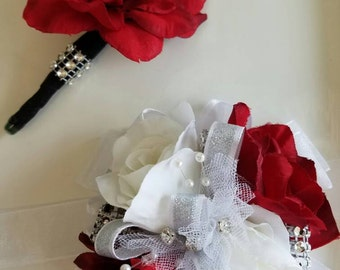 Red White Silver Wrist Corsage and Matching Boutonniere  Prom Corsage Set READY TO SHIP