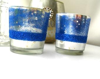 5 Cobalt blue and Mercury Glass Votives Candle Holder glitter votives Cobalt blue and Silver wedding reception Party Silver wedding decor
