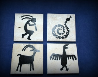 Petroglyph themed natural stone coasters, set of 4 -  tumbled travertine with felt back and water resistant paint - set of 4