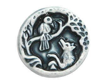 Crow and Fox 7/8 inch ( 22 mm ) Susan Clarke Art Stone Button Navy Color