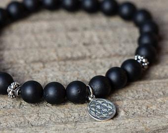 BLACK ONYX BRACELET / charm bracelet / bracelet for men / mala bracelet / yoga bracelet / seed of life charm / tribal bracelet / bohemian