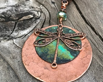 Hammered copper dragonfly pendant necklace, copper dragonfly necklace, dragonfly pendant, dragonfly necklace, dragonfly jewelry, patina