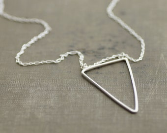 Long Sterling Silver Chain Necklace with Triangle Pendant - Black Tourmaline Accent