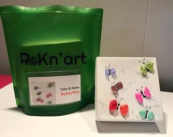 DIY kit- Take & Make- Butterflies! rock art, kid's craft pebble art, birthday party craft, Party Favor