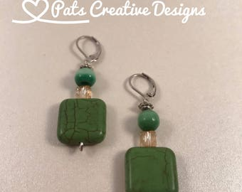 Olive Green Lampwork Citrine Swarovski Crystals and Green Glass Round Bead
