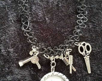 Choker style necklace custom made /hairstylist/beautician/charms for the profession