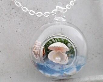 Real shell chain Sea terrarium Necklace glass (017)