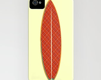 Surfboard with orange pattern on Phone Case -    iPhone 6S, iPhone 6 Plus, summer , beach gifts, Samsung Galaxy S7, Gifts for him, iPhone 8