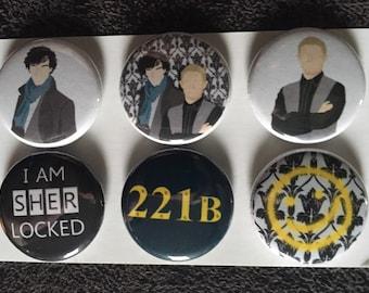 Sherlock set of 6 magnets one inch round