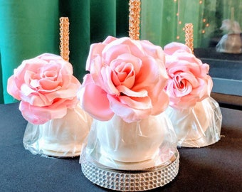 Shabby Chic, Unicorn, Tea Party, Elegant Gourmet Caramel  and chocolate apple with rose 12 per order