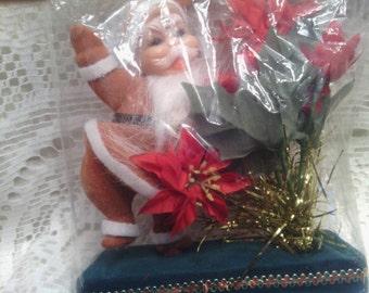 Vintage Flocked Plastic Santa with Poinsettias in Original Package