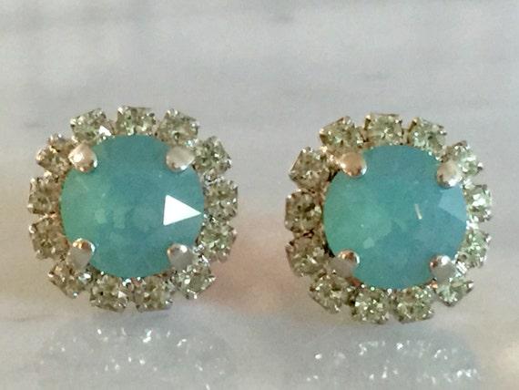 Pacific Opal & Chrysolite Opal Swarovski Crystal Earrings, Silver