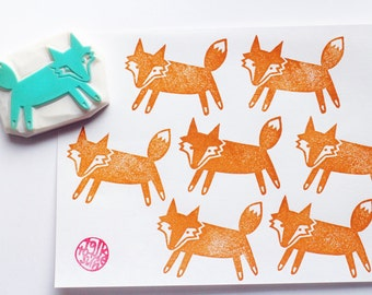 fox rubber stamp | woodland animal | diy birthday baby shower scrapbooking | gift wrapping | autumn crafts | hand carved by talktothesun