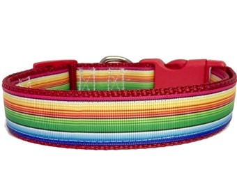 Serape Dog Collar - Mexican Serape - Rainbow - Summer - Spring - Handmade - Dog Gift- Pet - Dog Collar
