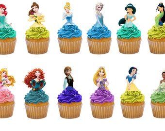 Disney Princesses 24 half body birthday edible stand up cake toppers decorations premium wafer card, choice of pre cut and uncut