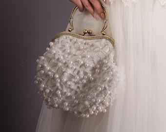 Vintage style clutch, Bridal Clutch, Bridal purse Lace, Bridal ivory clutch, Pearls clutch,bridal Clutch bag |  Bridal clutch bag ivory