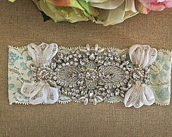 Blue Wedding Garter, Lace Bridal Garter, Keepsake Garter, Vintage Garter, Something Blue, Heirloom Garter, Wedding Garter Belt, Toss Garter
