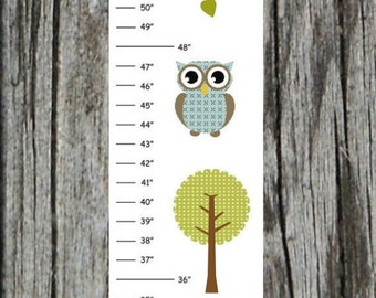 Personalized Blue Green Owl Canvas Growth Chart
