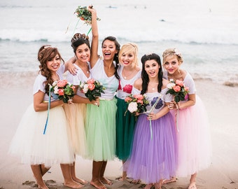 Mermaid Bridesmaids Tulle Skirts Custom Colors Bridal Beach Wedding Knee Length