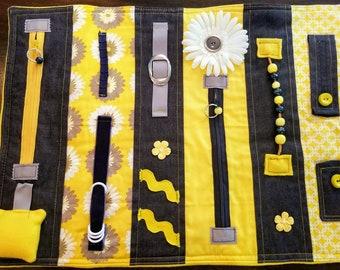 Fidget Quilt Alzheimers Activity Blanket Sensory Dementia Brain Trauma Tactile Lap Autistic Handmade Yellow Denim