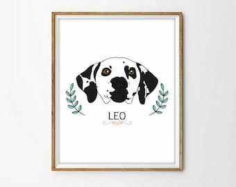 custom dog print, pet portrait, custom dog, custom pet print, nursery decor, living room art, custom dog art, 4 sizes included
