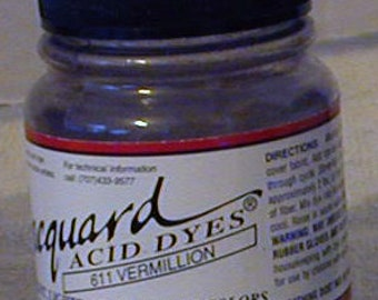 Vermillion 611 Jacquard Acid Dye for Wool, Silk, Feathers, Nylon, any protein (animal) fiber. Add vinegar and heat to powder .
