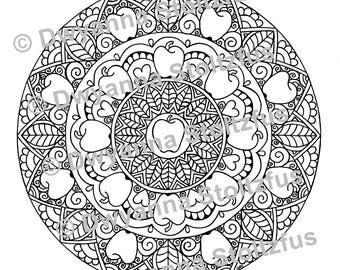 Detailed Apple Mandala Coloring Page JPG